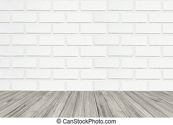 White brick wall texture background with wooden floor