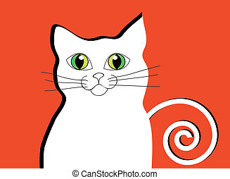 Abstract white cat