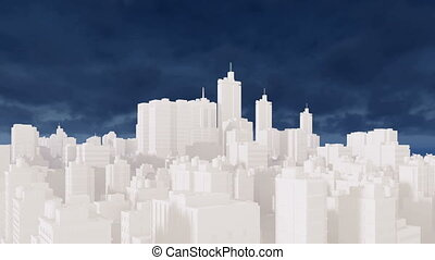 Abstract white cityscape and blue sky 4K