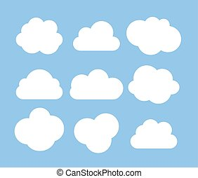Abstract white cloud icon collection set isolated on blue background