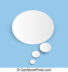 Abstract white cloud icon isolated on blue background. Vector illustration