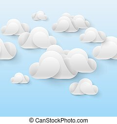 Abstract white clouds made of curved elements on light blue...