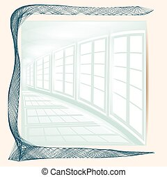 abstract white corridor