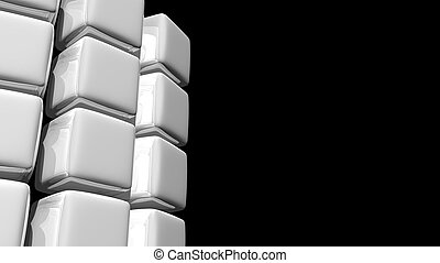 Abstract White Cube Background with a Curve
