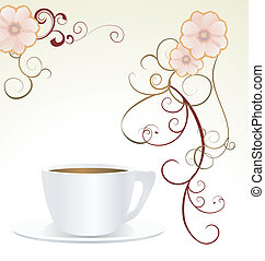 abstract white cup and decor flowers vector