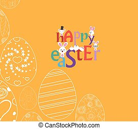 Abstract white easter egg with bunny on yellow background