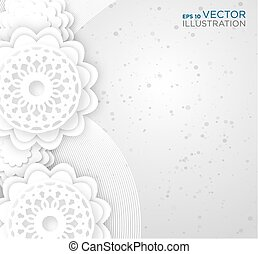 Abstract white flowers background. Vector illustration