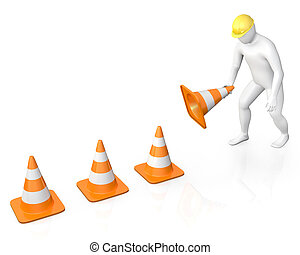 Abstract white guy places road cones