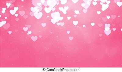 Abstract White hearts particle fade bokeh sparkle Confetti on Pink screen background.