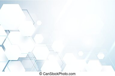 Abstract white hexagons repeating and futuristic technology concept background
