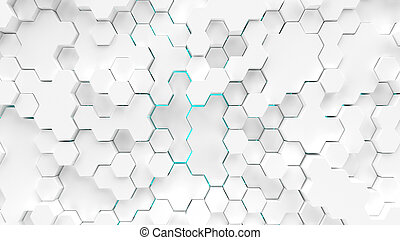 Abstract white hexagons surface with blue illumination