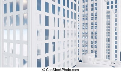 Abstract white high rise building 4K - Tilt up shot of...