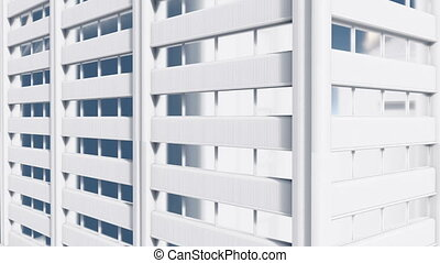 Abstract white high rise building exterior wall 4K