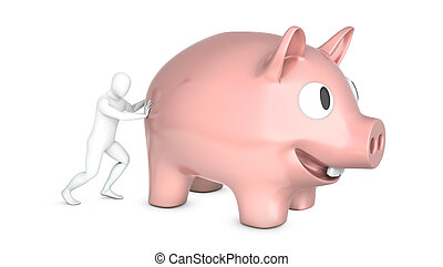 Abstract white man holds pushes giant piggy bank, isolated ...