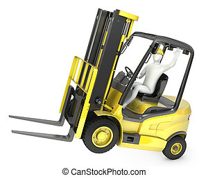 Abstract white man in a fork lift truck, balancing on rear wheels, isolated on white background