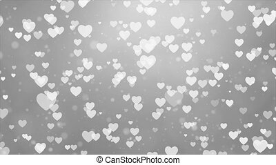 Abstract White Moving Flying Hearts and Particles Valentine'...