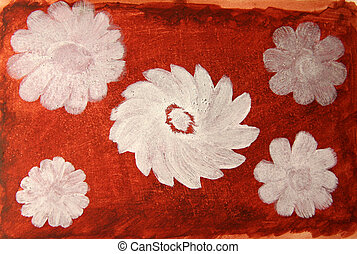 Abstract white oil flowers on red watercolor background