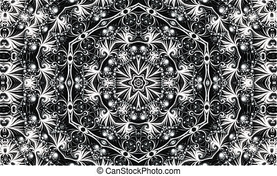 abstract white ornament of fractal hexagonal pattern