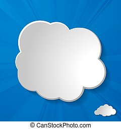 abstract white paper clouds with sun rays on a blue sky backgrou