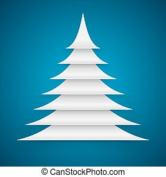 Abstract white paper cut Christmas tree on blue background.