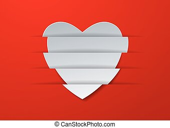 Abstract White Paper Heart on Red Background