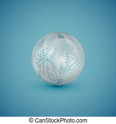 Abstract white pattern sphere, vector illustration