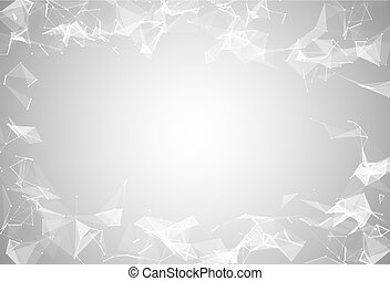 Abstract white polygonal connected triangles, lines, dots background. Modern technologies vector illustration. Geometric graphic big data complex compounds. Digital scientific cybernetic.
