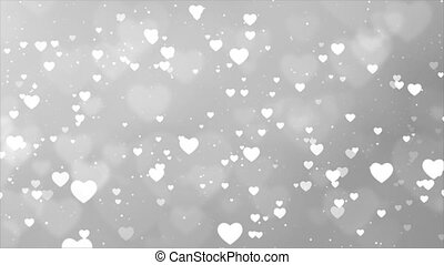 Abstract White Romantic floating Hearts Animated loop Background