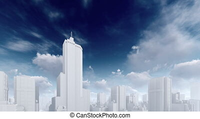 Abstract white skyscrapers time lapse sky 4K
