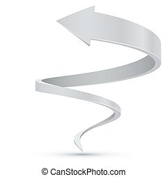Abstract White Spiral Arrow