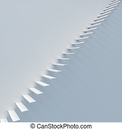 Abstract white staircase against white wall 3D render.