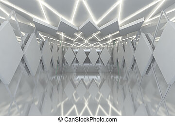 Abstract white wall in empty room