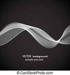 Abstract white wave on a black background EPS10