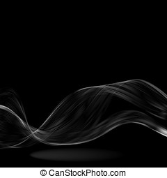 Abstract white wave on a black background Vector eps10