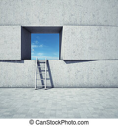 Abstract window with ladder