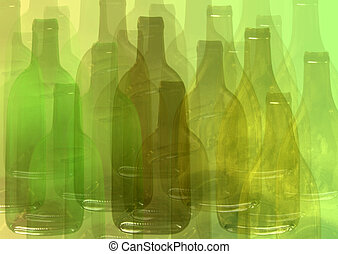 Abstract wine bottle - Abstract green bottle background