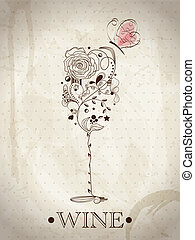 Abstract wine card - Abstract picture of wine glass