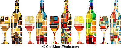 Abstract wine collection - Abstract mosaic editable vector...