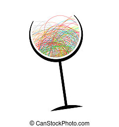 Abstract wine glass for your design