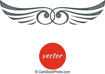 Abstract wings black on a white background. Tattoo grunge isolated. Stock vector illustration.