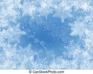 Blue winter background with snowflakes and rime