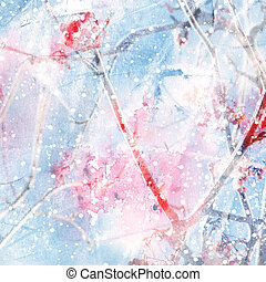 Abstract winter background with ashberry