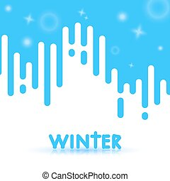 Abstract winter background with blue stripes on white and glowing elements. Vector illustration of winter
