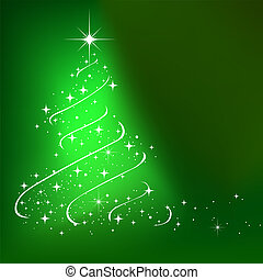Abstract winter background with stars Christmas tree