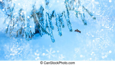 Abstract winter holidays background with snowy branches. Merry Christmas and happy New Year greeting card