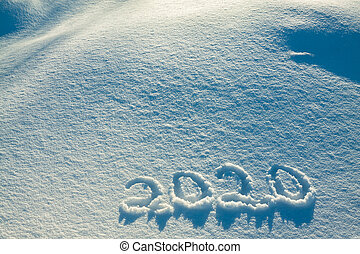 text on snow 2020 - abstract winter New Year's and Christmas...