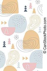abstract, winter, pastel kleurt, motieven, seamless