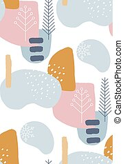Abstract winter seamless patterns in pastel colors