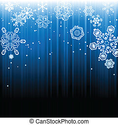 Abstract background of falling snow and light rays