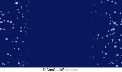 Abstract winter snowfall background frame with falling snowflakes on dark blue backdrop and copy space in center part. Simple wintry concept 3D animation rendered in 4K
